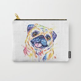 Fawn Pug Colorful Watercolor Pet Portrait Painting Carry-All Pouch