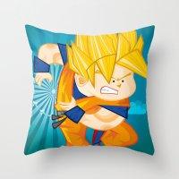 goku Throw Pillows featuring Goku SSJ  by Juan David Giraldo Ramirez
