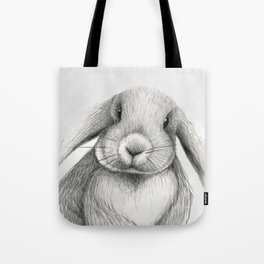 Lop eared rabbit face Tote Bag