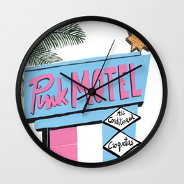 Pink motel Wall Clock
