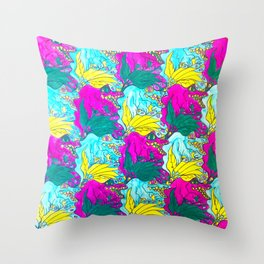 The Alligator Grins / The Peacock Weeps Throw Pillow