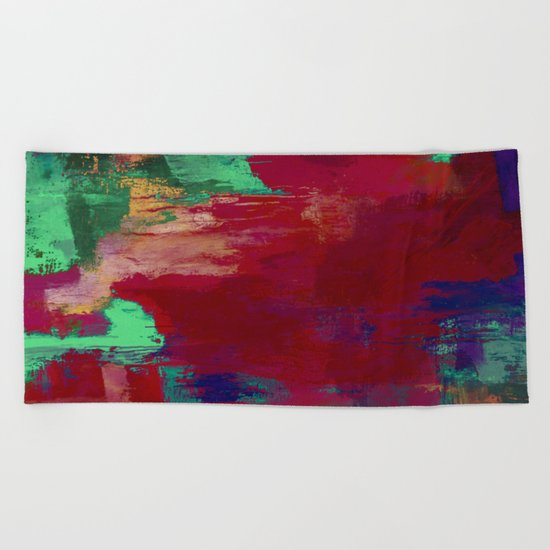 Crimson Overflow - Abstract, red, crimson, green, purple oil painting Beach Towel