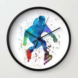 Man roller skater inline in watercolor Wall Clock