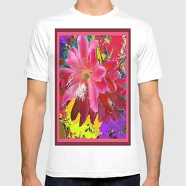 Delicate  Coral Pink Cacti Flower Tropical Art T-shirt