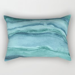 Watercolor Agate - Teal Blue Rectangular Pillow