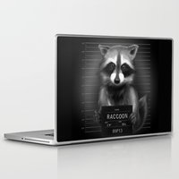 rocket raccoon Laptop & iPad Skins featuring Raccoon Mugshot by Company of Wolves