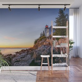 NEW ENGLAND LIGHTHOUSE SUNSET ACADIA MAINE PHOTOGRAPHY Wall Mural