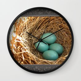 Four American Robin Eggs Wall Clock