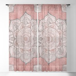 Red Toned Faded Mandala Sheer Curtain