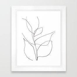 Minimalist Line Art Plant Drawing Framed Art Print