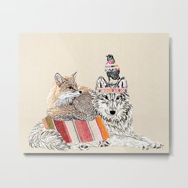 Best friends -wolf, raven, fox Metal Print