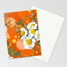 Orange Poppy Flowers Chinoiserie Stationery Cards