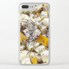 Pieces of feta and greek cheese Clear iPhone Case