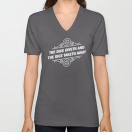 DnD The Dice Giveth and Taketh Away Dungeons and Dragons Inspired Tabletop RPG Gaming Unisex V-Neck