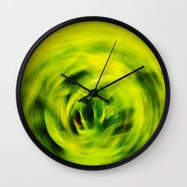 Green Foliage Motion Abstract. Wall Clock