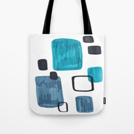 Mid Century Modern Abstract Minimalist Art Colorful Shapes Vintage Retro Style Turquoise Blue Grey Tote Bag