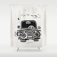 jeep Shower Curtains featuring Jeep by inktheboot