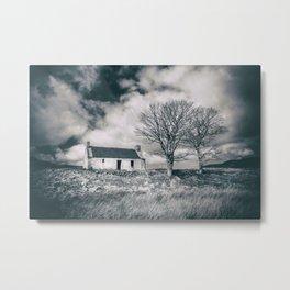 Highland Cottage, monochrome. Metal Print