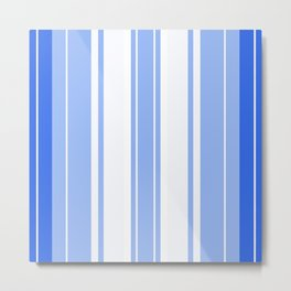 Strips - blue and white. Metal Print