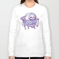 skeletor Long Sleeve T-shirts featuring Cheeseburger Skeletor by Philip Tseng