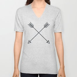 Arrows - Black and White Arrow Adventure Wanderlust Vintage Compass Design Unisex V-Neck