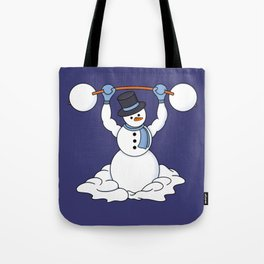 Weightlifting Snowman Tote Bag