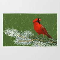 cardinal Area & Throw Rugs featuring Cardinal by Janko Illustration