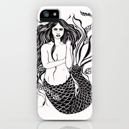 Angry Mermaid Ink Drawing iPhone Case