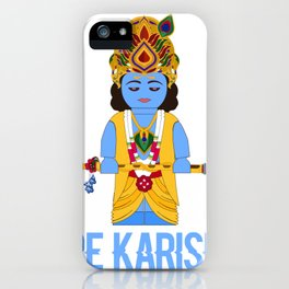 Hare karishna cute blue hindu god bamboo flute iPhone Case