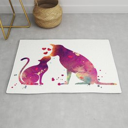 Cat and Dog Art Love Gift Animals Art Colorful Purple Watercolor Art Gift Pets Art Rug