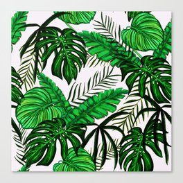 Tropical Jungle Leaf Pattern Green White Canvas Print