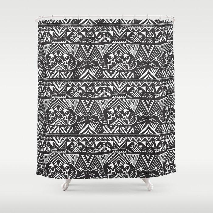 Pug Tribal Shower Curtain By Huebucket
