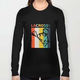Retro Lacrosse Sports Team Player Lax Sticks Long Sleeve T-shirt