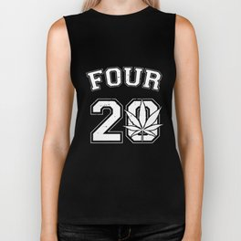 Four 20 420 Pot Leaf Weed Marijuana Ganja High Toke Smoke Juniors Weed T-Shirts Biker Tank