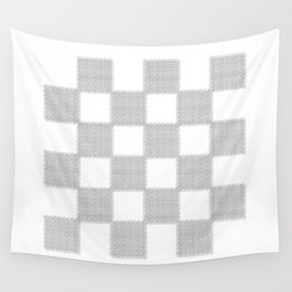 3D Line Drawing Cubes - Checkers Wall Tapestry