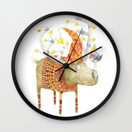 Christmas Reindeer watercolour art Wall Clock