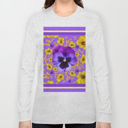 LILAC PANSIES YELLOW BUTTERFLIES & FLOWERS Long Sleeve T-shirt