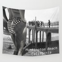 bikini Wall Tapestries featuring Bikini Pier - Huntington Beach  by seriouscactus
