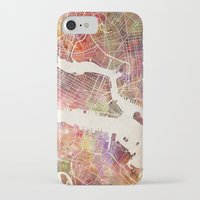 new york map iPhone & iPod Cases featuring New York Map Watercolor by Map Map Maps