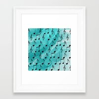music notes Framed Art Prints featuring Music notes by Gaspar Avila