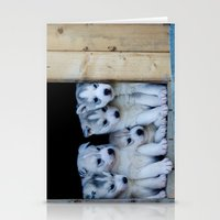 puppies Stationery Cards featuring Husky puppies by Nathalie Photos