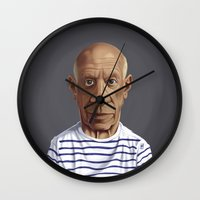 pablo picasso Wall Clocks featuring Celebrity Sunday ~ Pablo Picasso by rob art | illustration