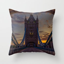 London Bridge Sunset Throw Pillow