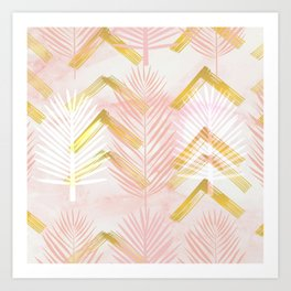 Abstract Art Botanical 1.0 Pink Gold Art Print