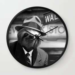 Sloth in Wall Street Wall Clock