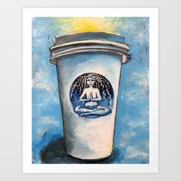 The Sun Rises on Coffee and Yoga Art Print
