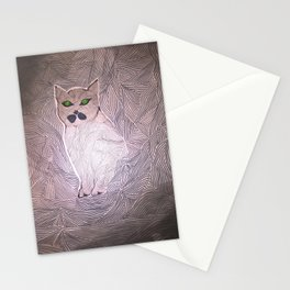Grey cat with green eyes. Original painting. Stationery Cards
