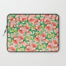 Botanical red green coral watercolor floral roses pattern Laptop Sleeve