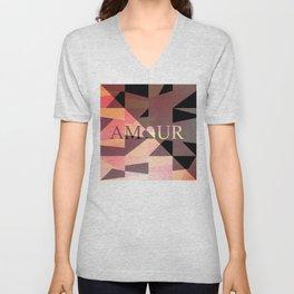 Amour Love Heart Cubic Design Unisex V-Neck