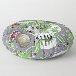 skull pot with carnivorous plants Floor Pillow